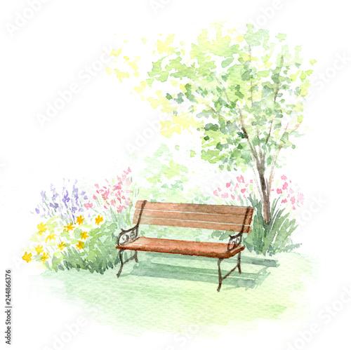 Valokuva  ベンチ ガーデン 水彩画