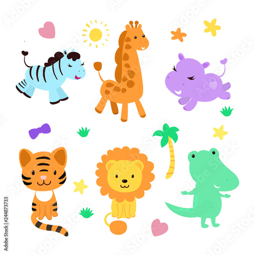 Cute jungle animal collection with funny elements as palm tree, grass, star, heart, bow. Contains such characters as zebra, giraffe, hippo, tiger, lion, crocodile.  #244873733