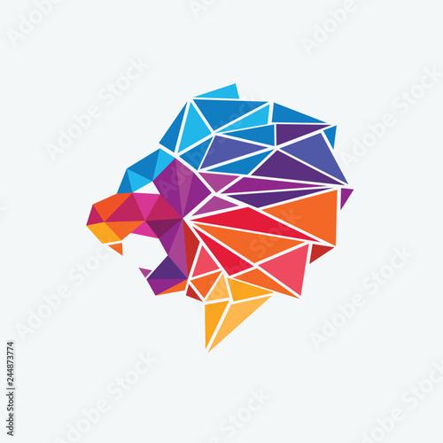 Geometryczna głowa lwa kolorowa
