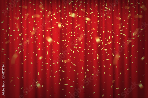 Obraz Falling golden confetti isolated on red curtain background. Vector festive background. - fototapety do salonu