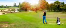 Panorama Of Golfer Hit Sweepin...