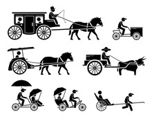 Set Of Traditional, Old, And Ancient Ground Transportations. Pictograms Depict Dokar, Dogcart, Horse Carriage Car, Cargo Bicycle, Bullock Cart, Trishaw, Rickshaw, And Horse Drawn Vehicle.