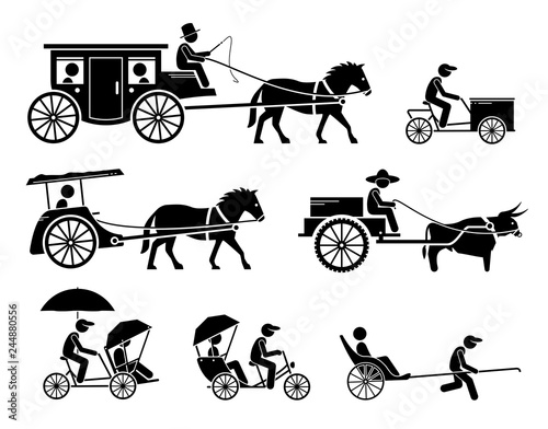 Set of traditional, old, and ancient ground transportations Wallpaper Mural