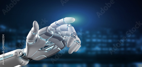 Photo  Cyborg robot hand on a city background 3d rendering