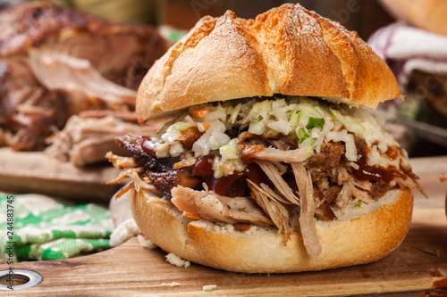Homemade pulled pork burger with coleslaw salad Canvas Print