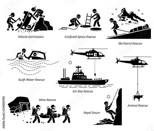 Fototapeta Rescue operations pictograms