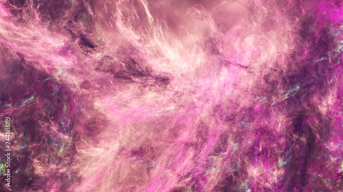 Abstract rose fantastic clouds. Colorful fractal background. 3d rendering.