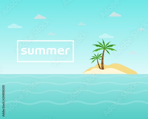 Foto op Aluminium Blauw Summer holidays view poster with sea and sky
