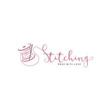 Tailor Sewing Vintage, Needle, Yarn, Fashion Retro Simple Logo Template