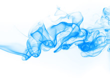 Blue Smoke Abstract On White Background. Ink Water On White