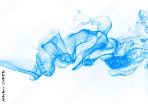 Poster Fumee Blue smoke abstract on white background. ink water on white