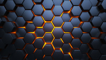 Blue And Orange Hexagons. Modern Background. 3d Illustration.