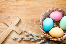 Easter Eggs And Cross On Abstr...