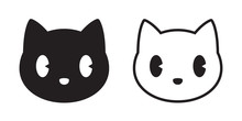 Cat Vector Head Calico Black White Kitten Icon Cartoon Character Illustration