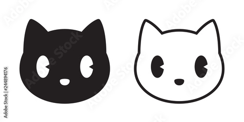 Obraz na plátně cat vector head calico black white kitten icon cartoon character illustration