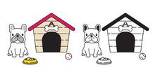 Dog Vector French Bulldog House Ball Bowl Cartoon Character Icon Logo Illustration