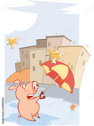 A cute Pig and Windy Autumn Day Cartoon