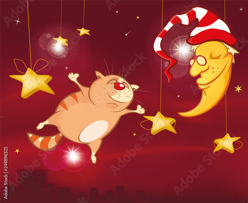 Foto op Plexiglas Babykamer A Midsummer Night's Dream A Cute Cat. Cartoon Character