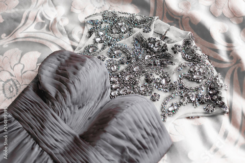 Grey evening dress with many rhinestones on top Poster Mural XXL