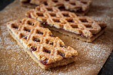 Linzer Torte Is Traditional Austrian Cake With A Lattice Design On Top Of The Pastry. Filled With Jam.