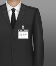 Vector Illustration Of Formally Dressed In Classic Suit Businessman With Id Badge Holder On Strap Clip