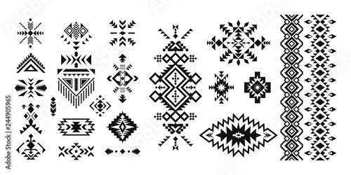 Foto auf AluDibond Boho-Stil Set of decorative Ethnic elements isolated on white background.