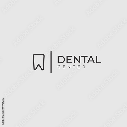 Modern Minimalistic Dentist Logo Design Template. Line