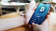 Bitcoin Wallet Interface On Smartphone Screen. Cryptocurrency Payments And Blockchain Technology Based Digital Money Concept.