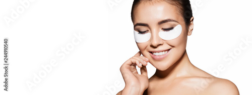 Close-up of a girl with patches under eyes from swelling and wrinkles Tablou Canvas