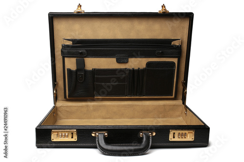 Photo Black leather business briefcase
