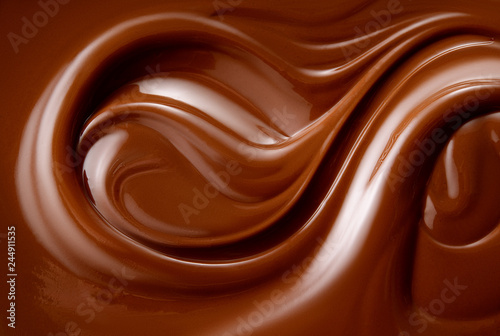 Chocolate background. Melted chocolate. Chocolate swirl.