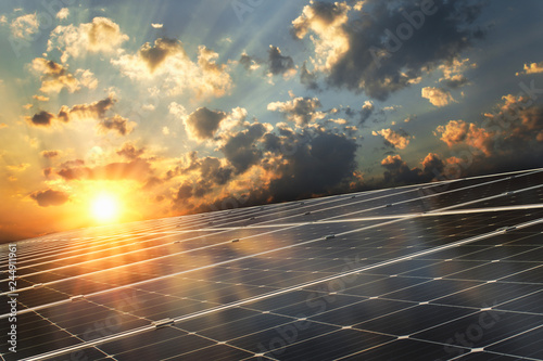 Tablou Canvas solar panel with sunset background. concept clean energy