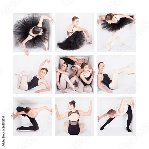 Fotografie, Obraz  White box series: Teenage female ballet dancers pose in a white box in tutu, jazz or classical costumes