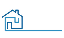 Real Estate Logo, House On Whi...