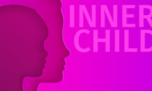Concept Of Inner Child. Silhouette Of A Woman Showing Her Inner Child Living In Her Mind.