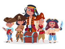 Pirates Kids Team And Treasure Chest Vector Isolated On White Background. Crew Of Pirate, Buccaneer Character With Chest Illustration