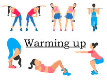 Stages Warm Up. Sport For Health, Clearly Shows The Girl. In Minimalist Style. Cartoon Flat Vector