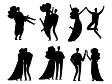 Happy Married Couples Sihouettes Vector Design Isolated. Silhouette Couple Black, Wedding Marriage Female And Male Illustration