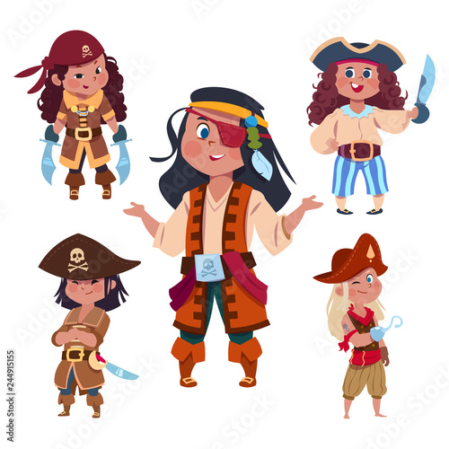 Valokuva  Cartoon character girl pirates isolated on white background