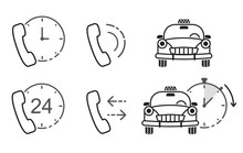 Business Icon Set. Taxi Service, Call-center. Flat Vector Illustrations, Line Art. Support.