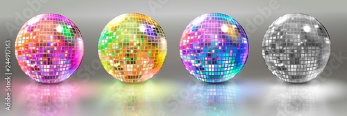 Fotomural Set of disco balls. Vector illustration.