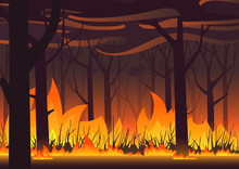 Woodland Eco Banner. Fire In Forest. Wildfire Landscape Vector Illustration.