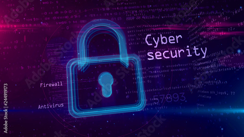 Pinturas sobre lienzo  Cyber security abstract concept with padlock 3D illustration