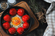 Baked egg with cherry tomatoes in a cast iron skillet. Healthy breakfast. Keto diet.