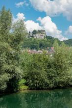 Ornans France 09-15-2018. Houses On River La Loue In Ornans France