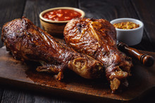Roasted Turkey Legs, On Dark W...