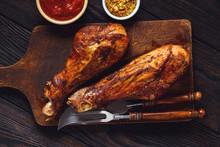 Roasted Turkey Legs, On Dark W...