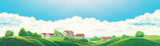 Rural panoramic landscape with a village and hills on a background of clouds
