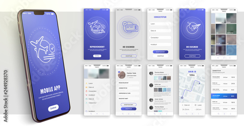 Obraz Design of the mobile application, UI, UX. A set of GUI screens with login and password input. Travel and ticketing , rating and statistics settings and payment screens. - fototapety do salonu