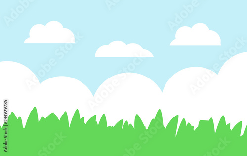 Green grass and blue sky cartoon landscape.